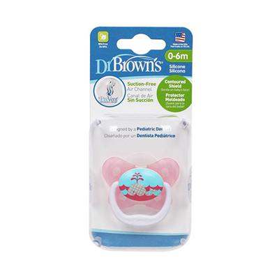 【一般贸易】美国布朗博士 Dr Brown's蝴蝶形舒适安抚奶嘴0-6个月 红色