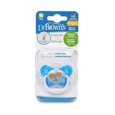 【一般贸易】美国布朗博士 Dr Brown's蝴蝶形舒适安抚奶嘴6-12个月 蓝色
