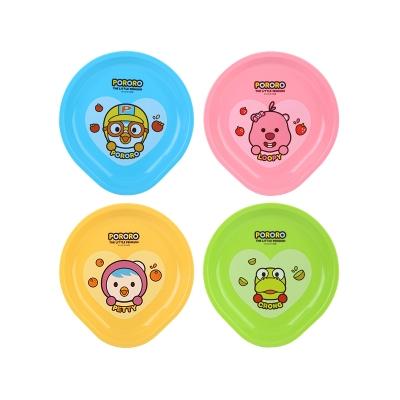 韩国pororo啵乐乐儿童彩色卡通餐盘碟子4个装微波炉可用