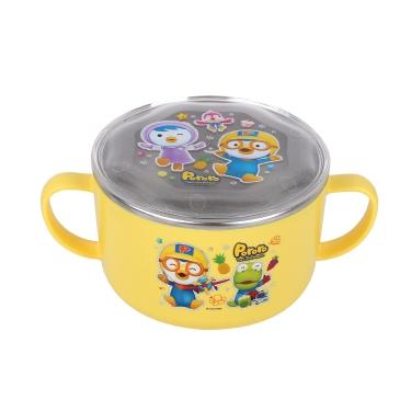韩国啵乐乐pororo儿童不锈钢隔热双把汤碗饭碗600mL有盖