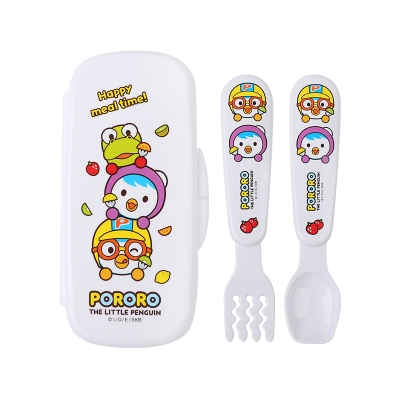 韩国进口pororo啵乐乐婴儿勺宝宝勺子儿童喂养餐具勺叉套装