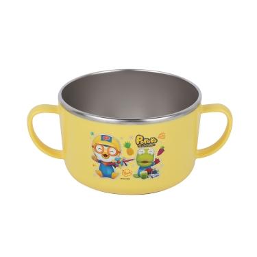 韩国啵乐乐pororo儿童不锈钢隔热双把汤碗饭碗600mL无盖