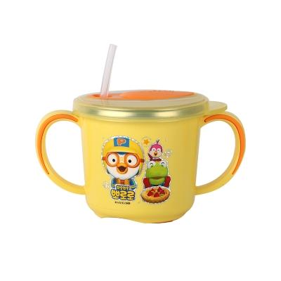 韩国进口pororo啵乐乐幼儿学饮杯水杯带吸管饮水杯255ml
