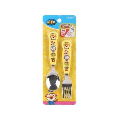 韩国pororo啵乐乐儿童不锈钢勺叉卡通印花餐具组合勺子