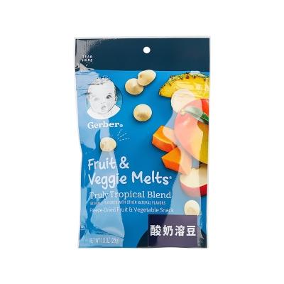 【一般贸易中文标】嘉宝Gerber婴幼儿辅食热带水果味酸奶溶豆三段8个月以上28g