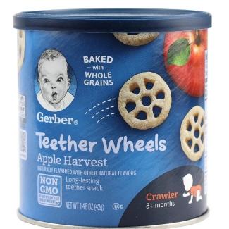 【一般贸易】美国嘉宝Gerber苹果车轮泡芙42g中文标