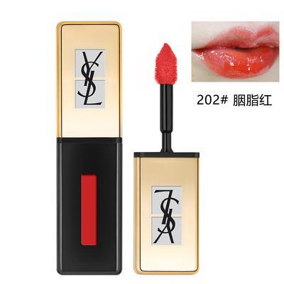 【香港直邮】法国圣罗兰YSL缎面镜光唇釉202#胭脂红 明星色号