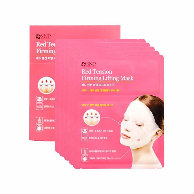【一般贸易中文标】韩国SNP爱神菲红色紧致紧肤提拉面膜(23ml+6ml)*5片