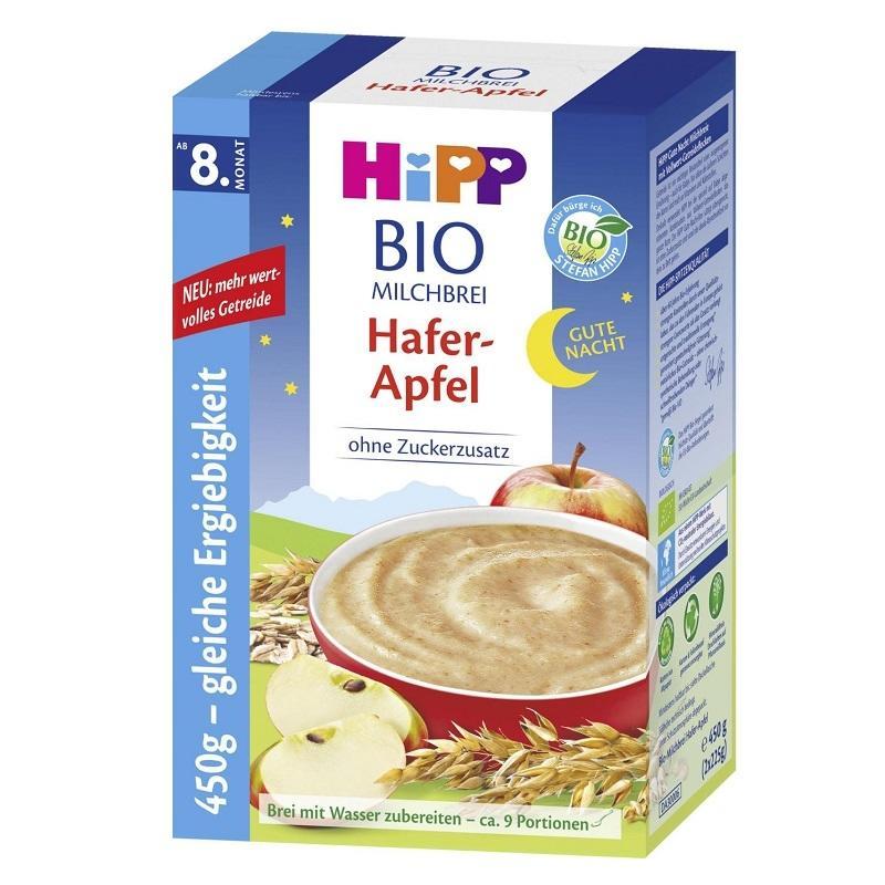 进口品牌代理  德国Hipp喜宝Hafer-Apfel苹果晚安米粉米糊8个月+450g (新包装)