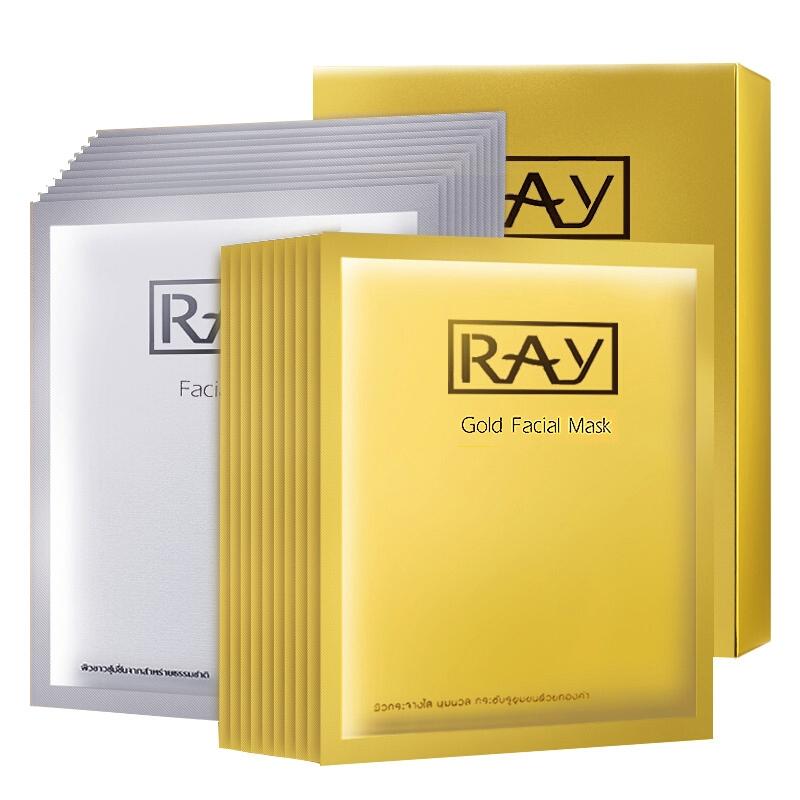 ray面膜补水保湿泰国金色银色蚕丝面膜贴 金银套装(金色10片+银色10片) 妆蕾版