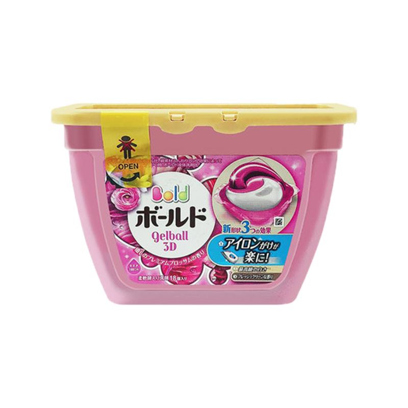 一般贸易【中文标】日本P&G宝洁花王洗衣啫喱球洗衣凝珠洗衣液洗衣球粉色花果香新版1盒18粒