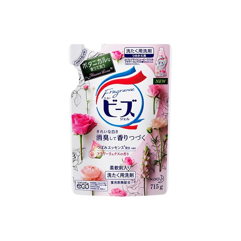 一般贸易货源【中文标】代购日本KAO花王天然柔顺剂玫瑰花果香洗衣液替换装715g