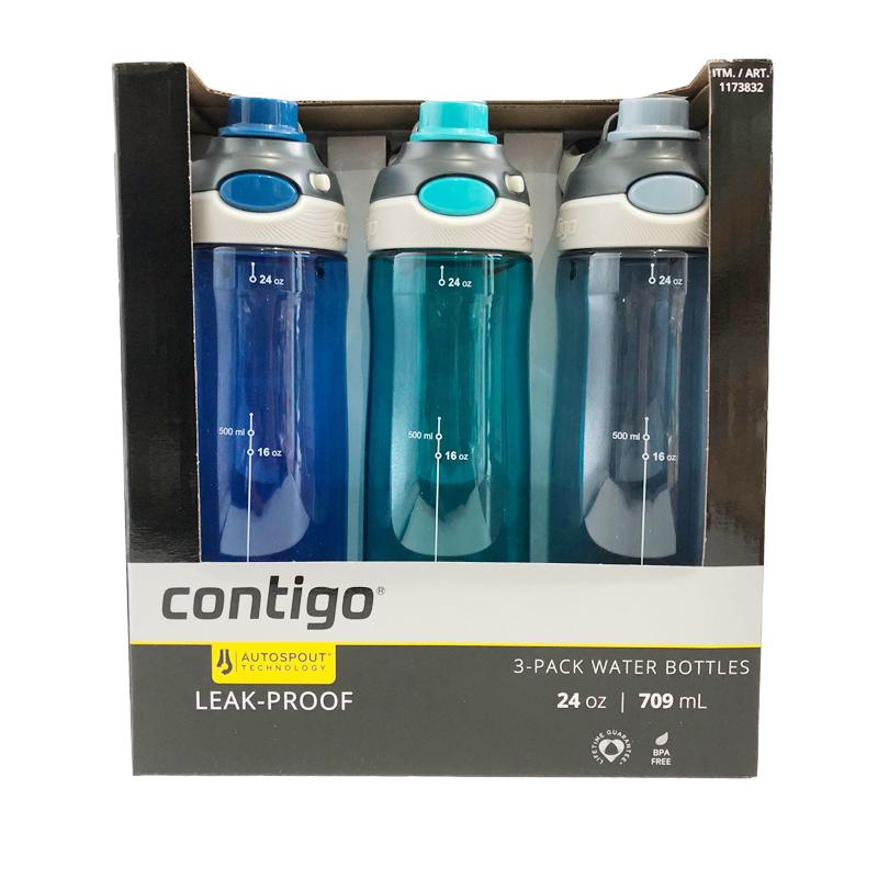 保税货源 代购Contigo康迪克成人运动水杯(无吸管)三个裝深蓝+浅蓝+灰709ML