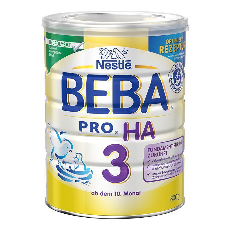 保税货源 代购德国雀巢Nestlé贝巴BEBA适度水解奶粉3段800g(10个月以上)
