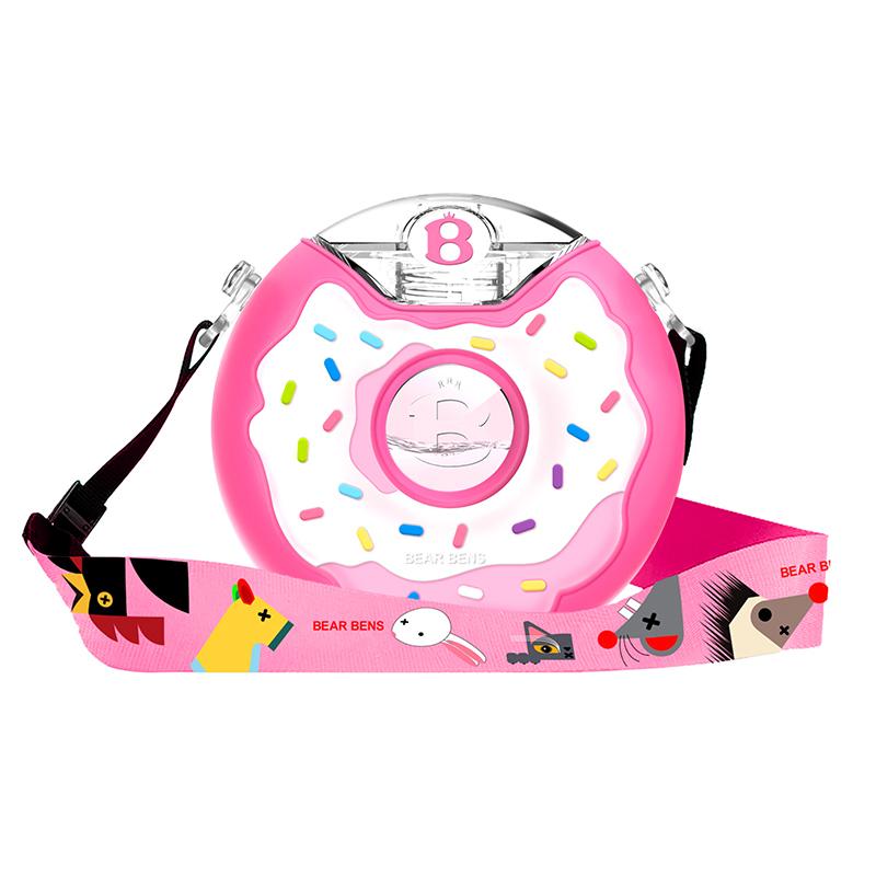 一般贸易货源 代购日本熊本士儿童Tritan甜甜圈防摔宝宝水杯水壶380ml 粉色