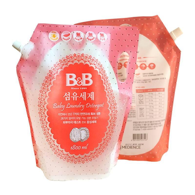 一般贸易货源【中文标】代购韩国保宁蓓尔婴儿洗衣液替换装1800ml