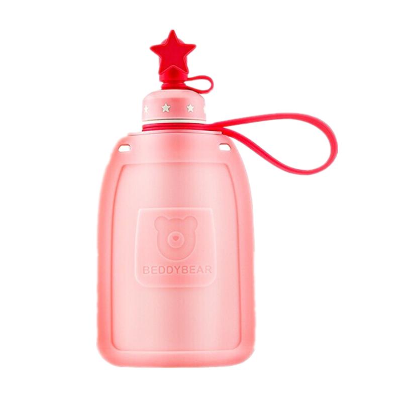 一般贸易货源 代购杯具熊beddybear儿童硅胶水壶两个盖粉色