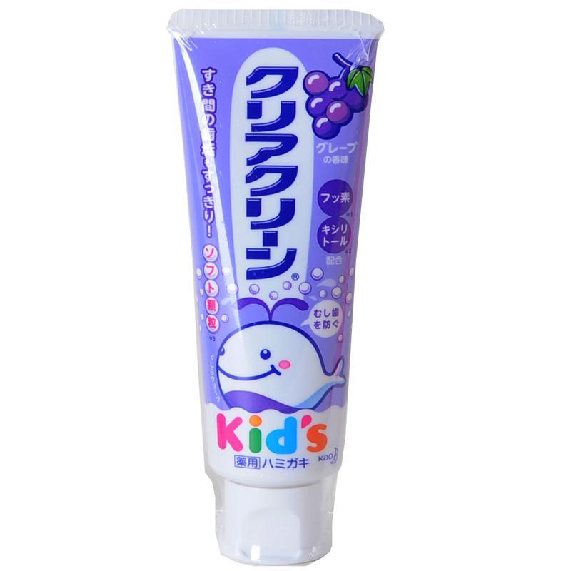 一般贸易货源【中文标】代购日本花王(Kao)儿童木糖醇氟素防蛀防龋齿牙膏70g葡萄味
