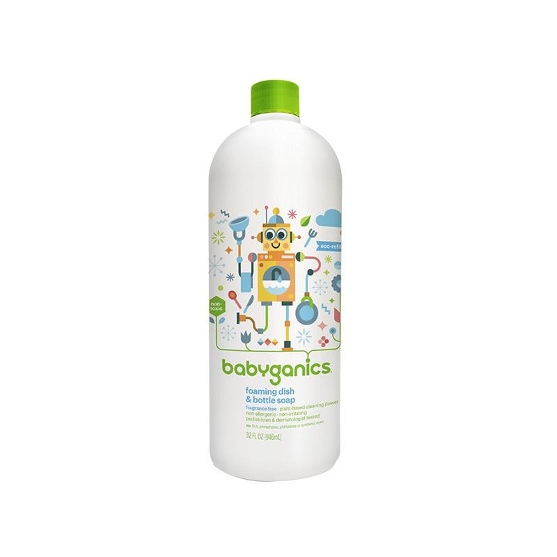 保税货源 代购美国宝贝甘尼克BabyGanics泡沫型奶瓶餐具清洁液(无香型)补充装 946ml