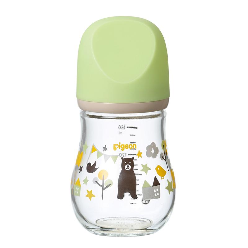 一般贸易货源 代购贝亲自然实感宽口径臻宝玻璃奶瓶160ml(熊)