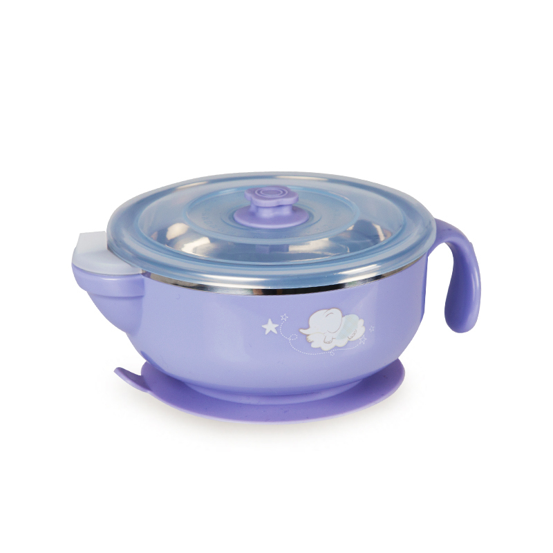 一般贸易货源 代购dexbaby不锈钢注水保温碗丁香紫