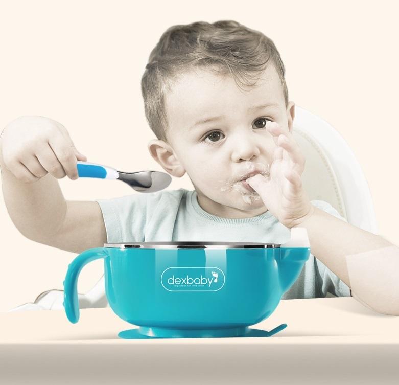 一般贸易货源 代购dexbaby不锈钢注水保温碗琥珀蓝