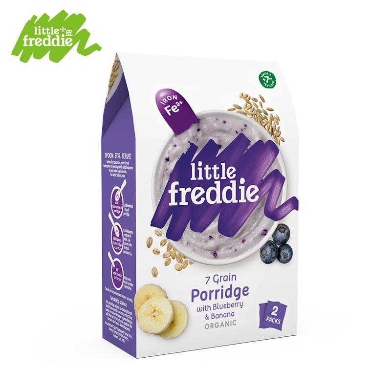 一般贸易货源 代购Little Freddie 小皮 蓝莓香蕉七种谷物粉 160g