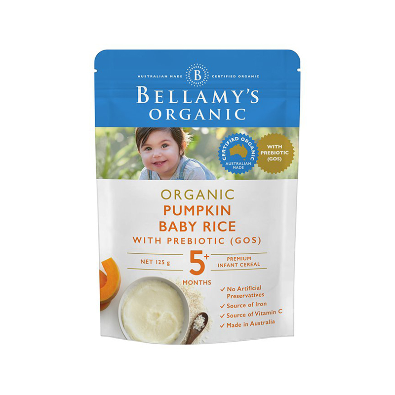 【澳洲直邮货源】代购Bellamys 婴幼儿有机高铁南瓜益生元米糊 125g 5M+