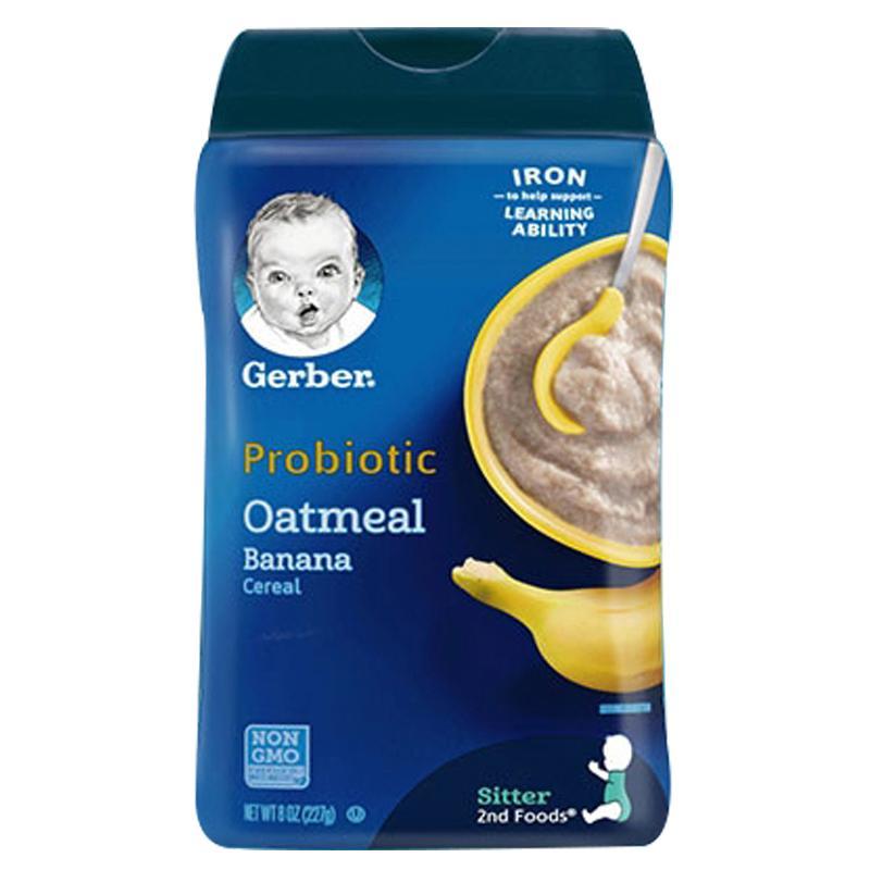 保税货源 代购美国嘉宝Gerber2段香蕉益生菌谷物燕麦米粉227g